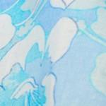 水色の花プリントの麻