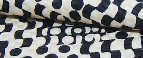 モノトーンプリントのシルクウールふくれ織り