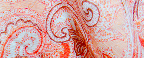 エトロのオレンジプリント綿